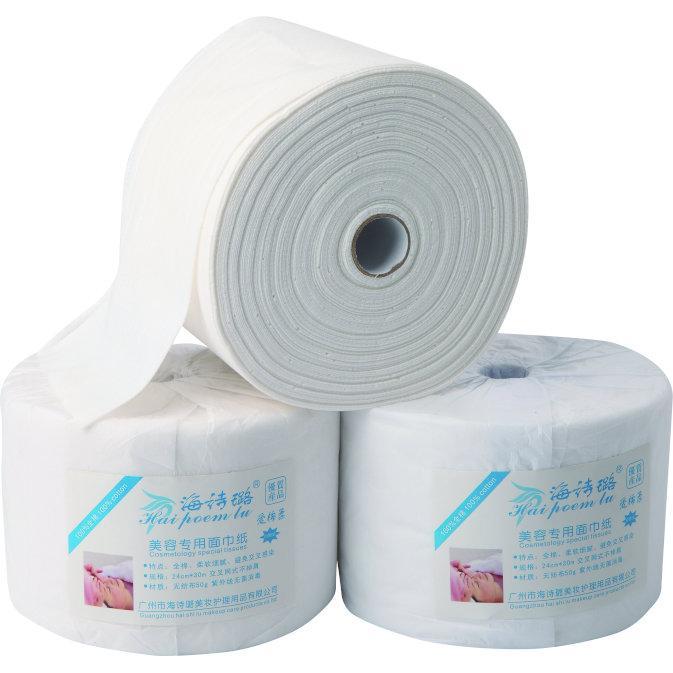 HB-1 100%棉卷巾30米  海诗璐纯棉一次性面巾纸 卷巾 点断式洁面巾30米美容用品
