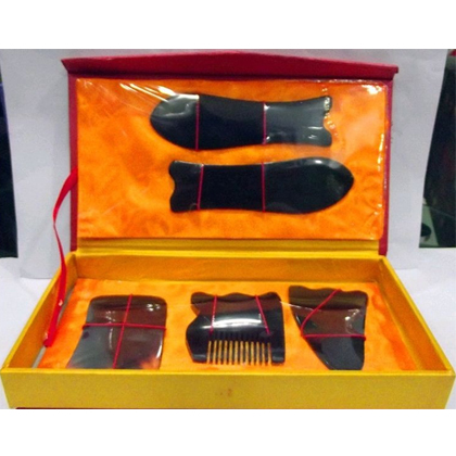 HI-14 黑牛角刮痧套盒 保健养颜 面部眼睛美容脸部刮痧 经络排毒