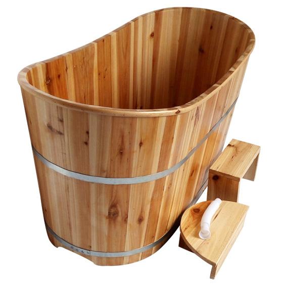 香杉木成人浴桶 泡澡洗澡木桶 浴缸桑拿沐浴桶 高档美容院SPA(900*600*650)